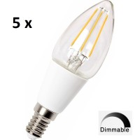E14 (SES)  4w LED Filament Candle Bulb DIMMABLE - (W/W 3000k) * 5 PACK *