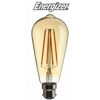 Energizer Vintage Industrial LED Filament Retro Bulb B22 ST64 (Extra Warm White 2200k)