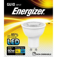 Energizer 5.8w (60w) GU10 LED Spot Light 420LM (Warm White 3000k) 6 Pack