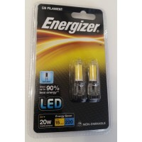 Energizer 2w G9 LED Glass Capsule Bulb Bright Day White 6500k (Twin Pack )
