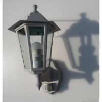 Traditional 6 Sided White Motion Detector 10w JCB LED Lantern (Natural White 4000k)
