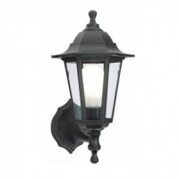 Traditional 6 Sided Black Outdoor 6w JCB LED Lantern (Warm White 3000k)
