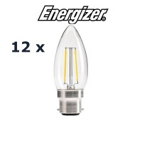 Energizer 4w B22 LED Filament Candle Bulb (Cozy Warm 2700k) - 12 Pack