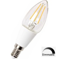 E14 (SES)  4w LED Filament Candle Bulb DIMMABLE - (Warm White 3000k)