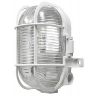 White Caged Outdoor Wall Light JCB LED 6W - warm white 2700k