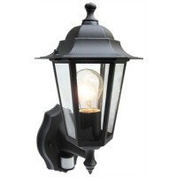 Traditional 6 Sided Black Motion Detector 6w Energizer LED Lantern (Warm White 3000k)